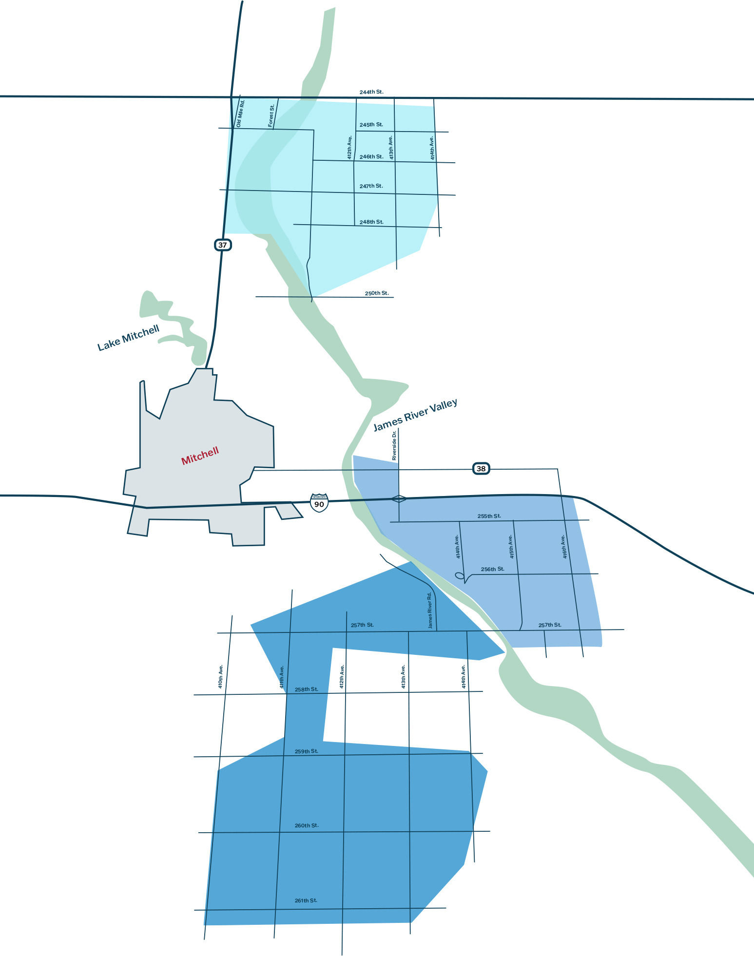 Mitchell map 3 zones of fiber build