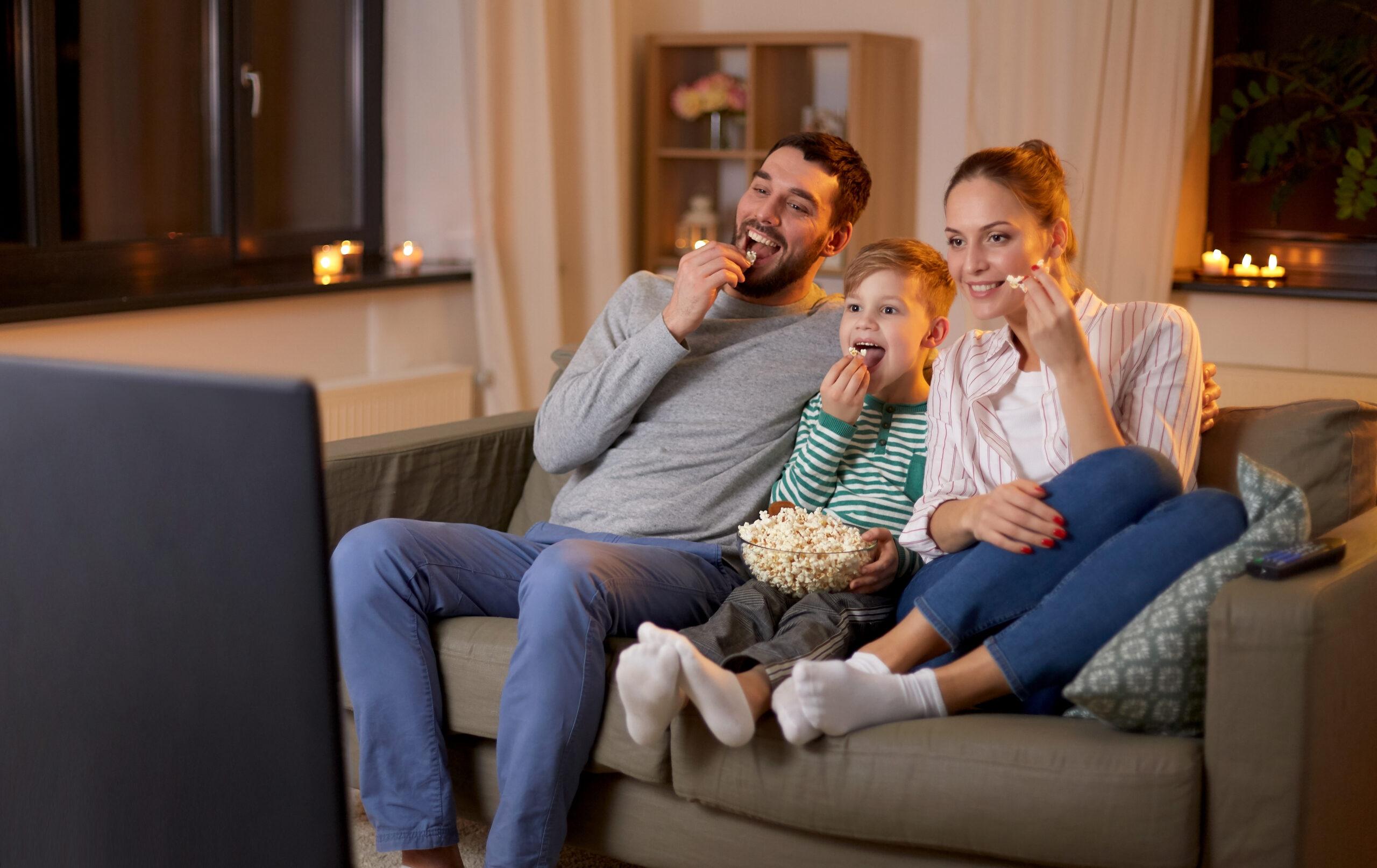 family watching TV